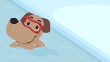 Dog Swim Pool Illustration
