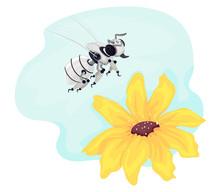 Robotics Bee Flower Illustration