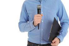 Man Holding Microphone And Cli...