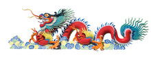 Colorful Chinese Dragon On Whi...