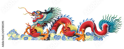 Fototapeta Colorful Chinese dragon on white background