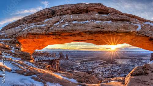 Door stickers Cappuccino Mesa Arch Winter Sunrise Panorama