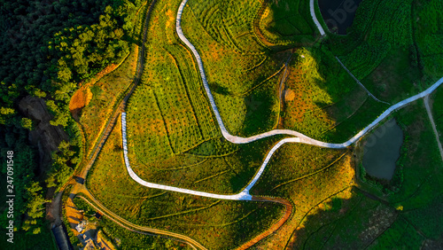 Aerial photography of China's country road Canvas Print