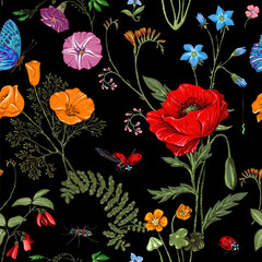 FototapetaSummer vector seamless pattern. Botanical wallpaper. Plants, insects, flowers in vintage style. Butterflies, beetles and plants in the style of Provence. Drawn nature wallpaper. Summer background