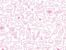 Seamless Pattern Of Valentine's Elements Pink