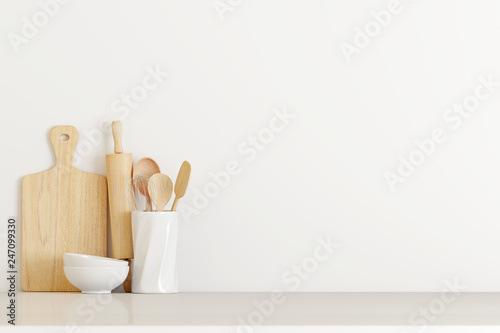 Fototapeta kitchen utensils on white table. 3d rendering obraz