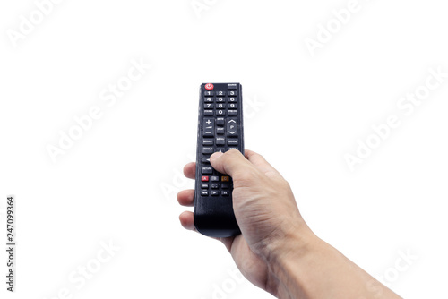 Obraz na plátně Hand holding remote controller, isolated on white background with clipping path