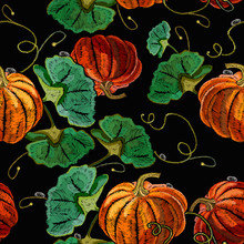 Embroidery Pumpkin Seamless Pattern. Fashion Template For Clothes, T-shirt Design. Beautiful Classical Food Background