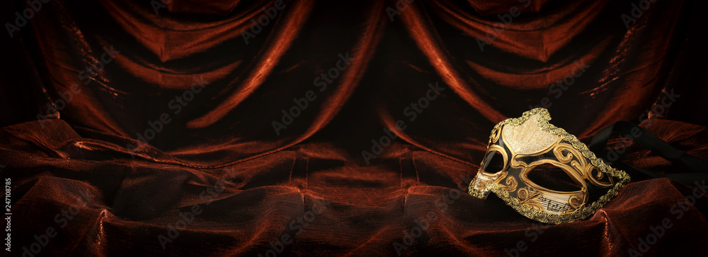 Fototapety, obrazy: Photo of elegant and delicate gold venetian mask over dark velvet and silk background.