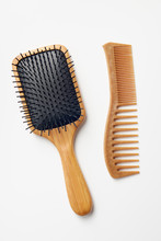 Bamboo Comb And Hairbrush