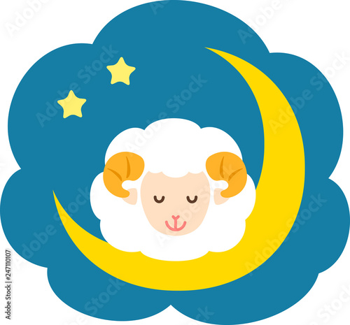 Leinwand Poster 夜空と眠る羊
