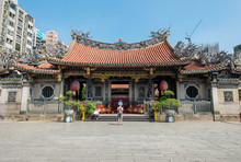 Longshan Temple In Taiwan. Located In The Old Village Part Of Taipei.