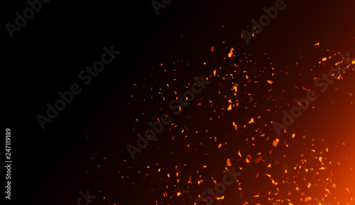 Poster Fire / Flame Realistic isolated fire effect for decoration and covering on black background. Concept of particles , sparkles, flame and light