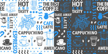 Typographic Vector Coffee Seamless Pattern On Light And Dark Background. Types Of Coffee And Hand Drawn Illustrations For Cafe And Packaging. Retro Style.