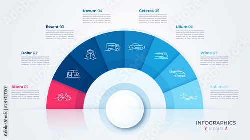 Photo  Vector circle chart design, modern template for creating infographics, presentat