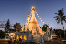 Beautiful Sanctuary Wat Phra That Doi Kong Mu Temple In Twilight Sunset, Mae Hong Son Thailand.