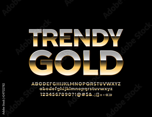 Vector Trendy Gold Font  Stylish Alphabet Letters, Numbers and