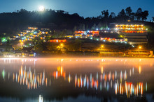 Ban Rak Thai (Mae Aw) Mae Hong Son, Thailand Most People From Yunnan, China. Love Thai Village With Water Reflection Thin Fog And Cold Weather In Winter Sunrise.