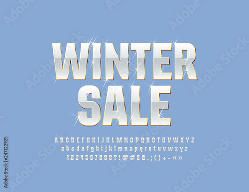 Vector snow white Emblem Winter Sale with sparkling Stars Font