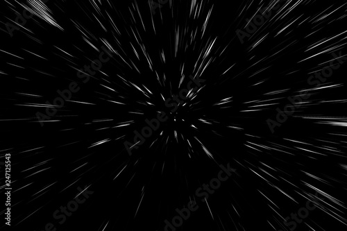Fotomural  Bokeh white lines on black background, abstraction, abstract speed light motion