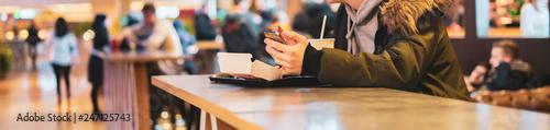 Fotografie, Obraz people in public or fast food restaurant b