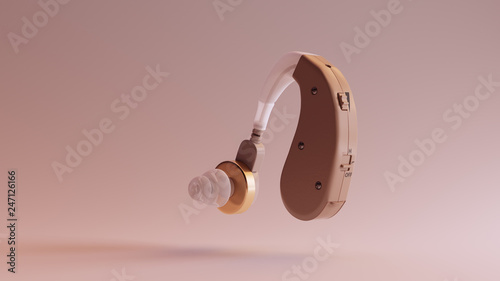 Fényképezés  Behind the Ear Hearing Aid 3d illustration 3d render