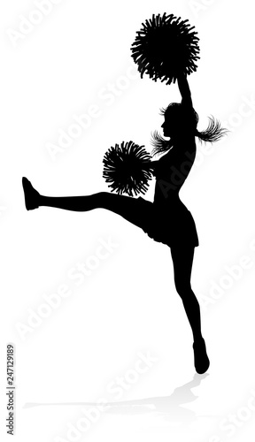 Photo  Cheerleader detailed silhouette with pom poms