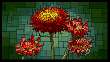Vector Stained Glass Window With Blooming Helichrysum With Buds.