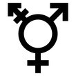 canvas print picture - gz313 GrafikZeichnung - english - lesbian, gay, bisexual and transgender symbol: (LGBT) - gender / male-transgender-female - simple template / close-up - black / white - square xxl - g7161