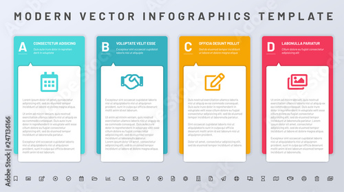Fényképezés  Infographics template with paper frames and set of icons