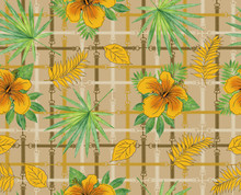Tropical Pattern Background With Yellow Hibiscus Rosa. Exotic Flower Wallpaper, Digital Paper, Raster Illustration In Vintage Hawaiian Style Background