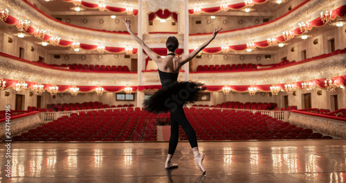 Fotografie, Obraz  Ballerina standing on stage of amazing theatre and lookng at the auditorioum