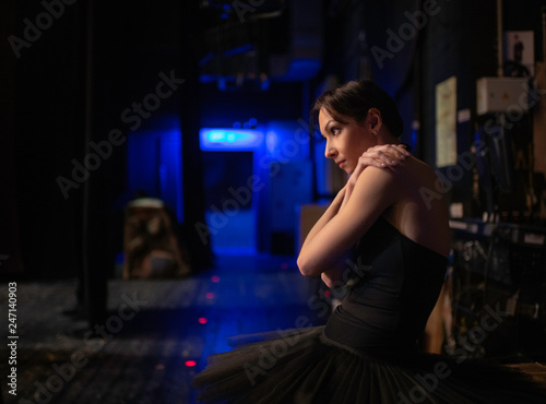 Fotografia, Obraz  Beautiful Ballerina preparing going to the stage