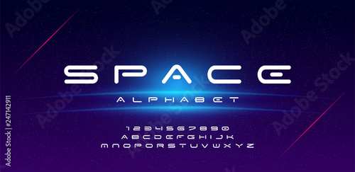 Fototapeta Abstract technology space font and alphabet. techno effect fonts designs. Typography digital sci-fi concept. vector illustration obraz