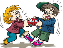 Cartoon Kids Fighting Over A Toy