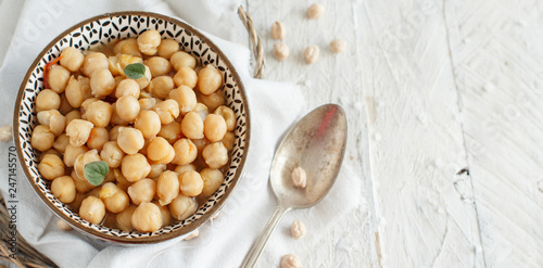 Cooked chickpea stew with vegetables