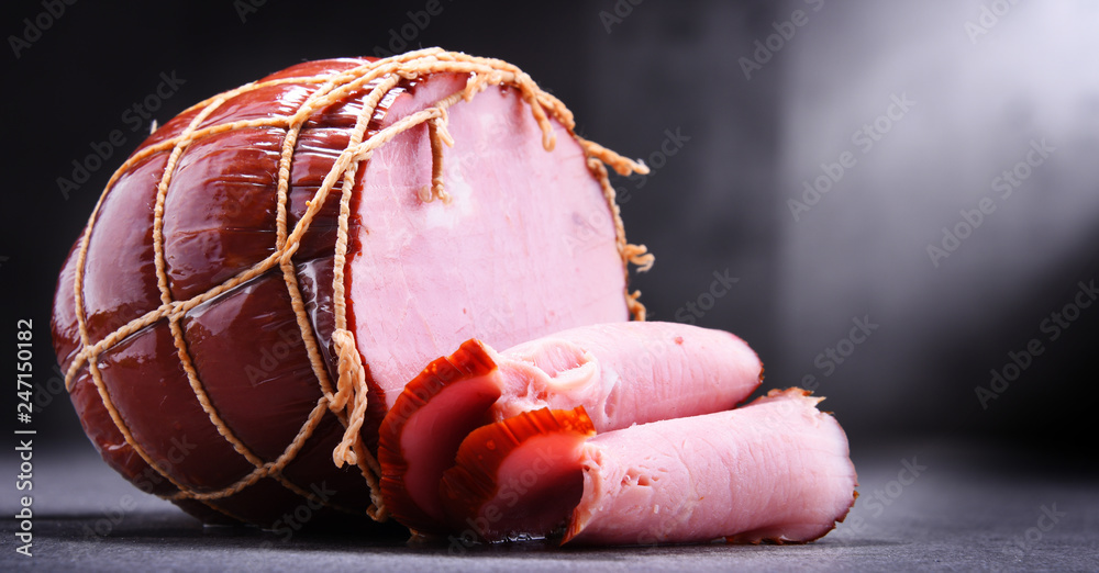 Fototapety, obrazy: Composition with piece of ham. Meatworks products
