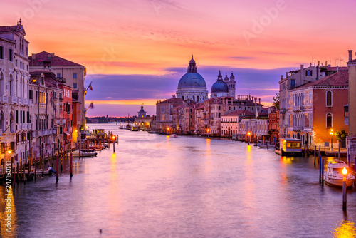 Türaufkleber Gondeln Grand Canal with Basilica di Santa Maria della Salute in Venice, Italy. Sunrise view of Venice Grand Canal. Architecture and landmarks of Venice. Venice postcard
