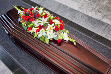 Funeral, Beautifully Decorated With Flower Arrangements Coffin