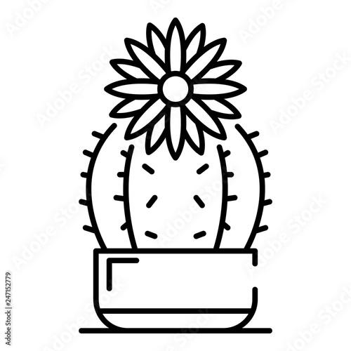 Flower cactus icon. Outline flower cactus vector icon for ...  Cactus Flower Outline