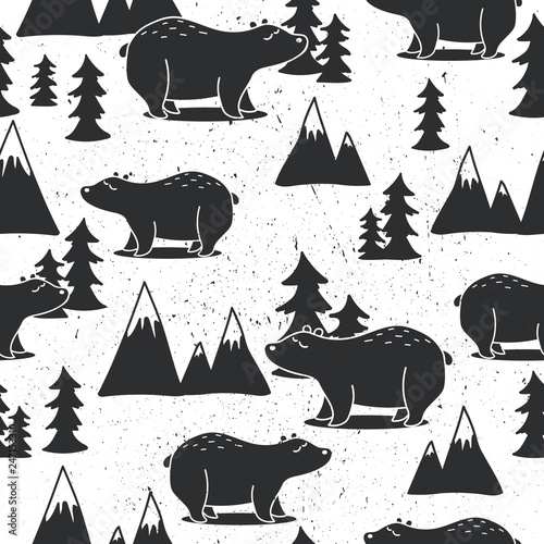 Seamless pattern, bears, fir-trees, mountains, hand drawn overlapping backdrop. Black and white background vector. Illustration with animals. Decorative wallpaper, good for printing