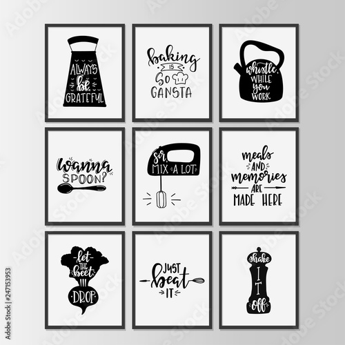 Printed kitchen splashbacks Positive Typography Happy kitchen drawn typography poster. Conceptual handwritten phrase Home and Family T shirt hand lettered calligraphic design.