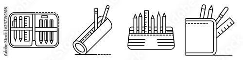 Fotomural Pencil case icons set