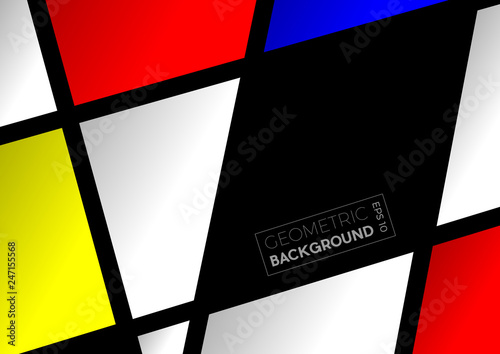 Photo  Geometric abstract  polygons with Mondrian colors, vector background