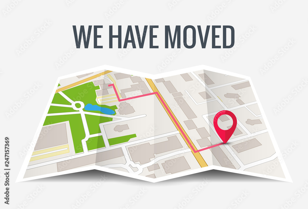 Fototapeta We have moved new office icon location. Address move change location announcement business home map