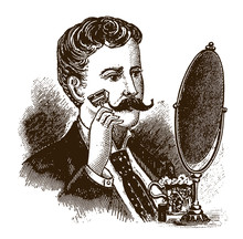 Man From The 19th Century Shaving His Beard Or Moustache With A Safety Razor In Front Of A Mirror. Illustration After An Engraving