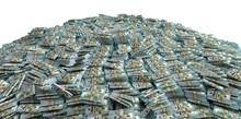 Millions Of Dollars - Pile Of New 100 Dollar Bills - 3D Rendering