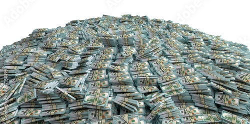 Millions of Dollars - Pile of new 100 Dollar Bills - 3D Rendering Wallpaper Mural