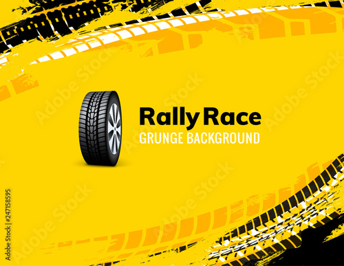 Fotografía Rally race grunge tire dirt car background