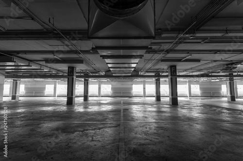 Leinwand Poster Parking garage interior, industrial building,Empty underground